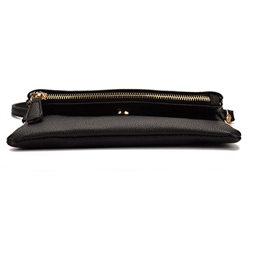 Leather Meliya Wristlet Handbag Shoulder Foldover Bags Girls Black1 Envelope Bag Womens Pu Crossbody Tassel tq0nxrzgt
