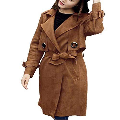 Vintage Fashion Cintura Transizione Camoscio di Giubotto Lunghe Casual Giaccone Puro Colore Manica Donna Primaverile Lunga Outerwear Autunno Inclusa Braun Bavero Cappotto Eleganti xwnq0fw46