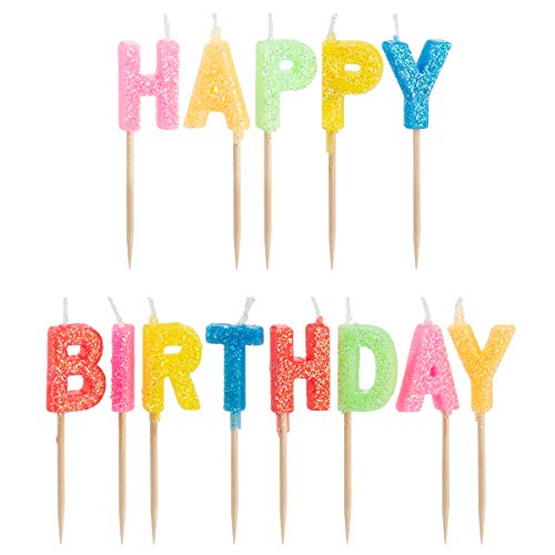 Happy Birthday Candles, Cake Toppers, Toothpicks for Easy Inserting, Glittery Design