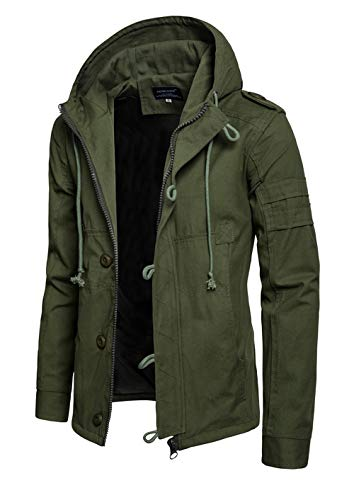 Hakjay Mens Casual Military Jackets Fall Tactical Coats Zip Up Hoodie Army Green ()