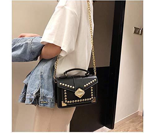 moda Borse Borsa piccola catena singola Donna Baitao rivetto La quadrata trama spalla Oblique Bag nuova wqqaBtf