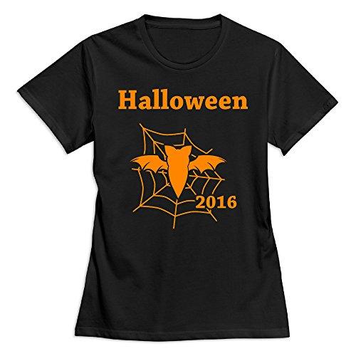 Women's Happy Halloween Day 100% Cotton O Neck T-Shirt Black US Size L]()