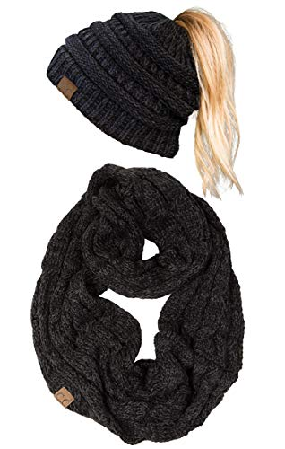 cBT-6800-6206 Messy Bun Beanie Tail Matching Scarf Bundle Set - Onyx ()