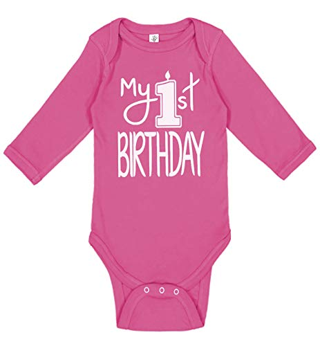 er - Handmade Baby Girl Clothes - Baby Girl My First Birthday Bodysuit (12 Months, Candle White Hot Pink LS) ()
