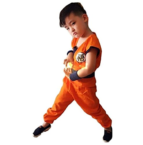 Peachi Dragon Ball Costume Son Goku Suit Outfit Cosplay Costume Kids Halloween Kung Fu Outfit (S) -