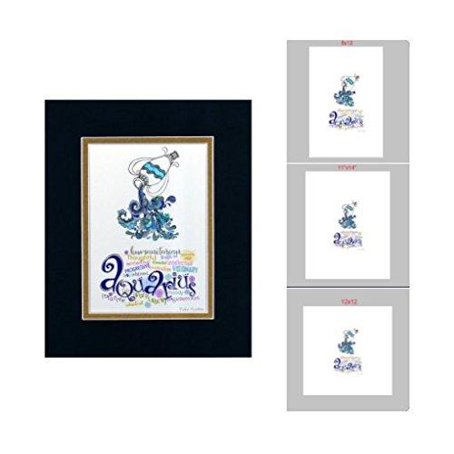Zodiac Sign Aquarius - Unframed Art Print,Aquarius Zodiac Sign,Aquarius gift,Birthday Gift,Gift for her,Gift for him,Nursery Decor,Gifts for Aquarius ...