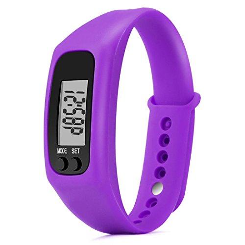 Tiean Run Step Watch Bracelet Pedometer Calorie Counter Digital LCD Walking Distance (Purple)