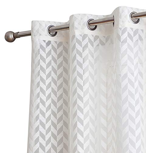 (HLC.ME Herringbone Lace Thick Semi Sheer Premium Grommet Top Window Curtain Panels for Kids Room & Bedroom - Set of 2 (37