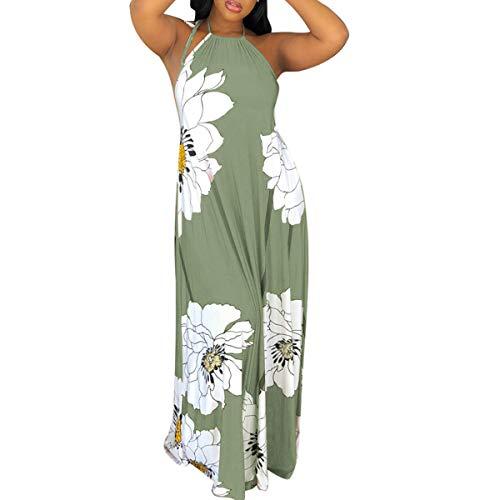 - Womens Sun Dresses Beach Sleeveless - Sexy Halter Neck Vintage Floral Print Backless Party Summer Maxi Long Dress Green Small