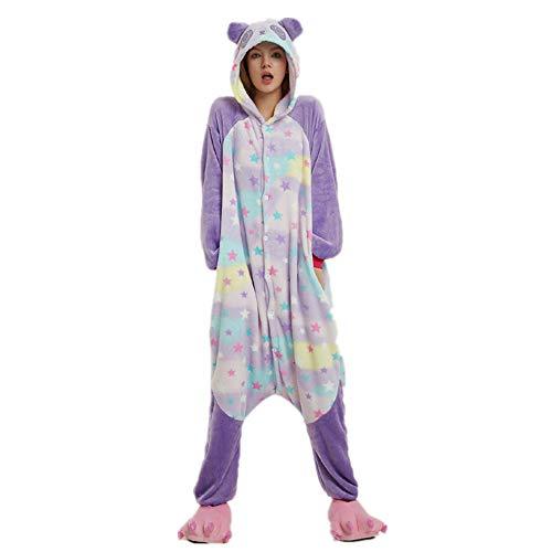 RECM Star Bear Panda Adult Pajamas One Piece Cosplay Animal CostumeTeen Women Homewear S ()