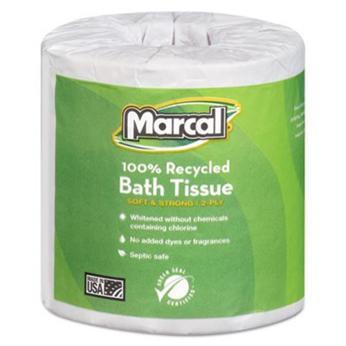 Marcal Toilet Paper 100% Recycled - 2 Ply, White Bath Tissue, 504 Sheets Per Roll - 80 Rolls Per Case Green Seal Certified Toilet Paper 04580 by Marcal