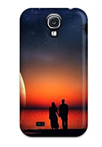 Faddish Phone Romantic Couple In Moon Night Love Case For Galaxy S4 / Perfect Case Cover