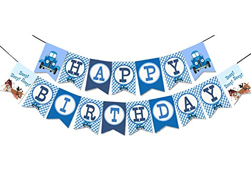 - Little Blue Truck Happy Birthday Banner Party Supplies For Kids and Adults Birthday Party Decorations Set of 1