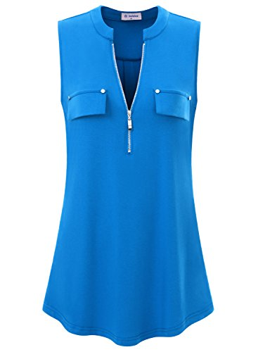 Bulotus Sleeveless Tops and Shirts, Women's Summer Tank Tops with Chest Flaps and Zip,Royal Blue (Sleeveless Half Zip Top)