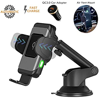 Wefunix Wireless Car Charger, 10W Fast Qi Charging Auto Clamping Mount Windshield Dashboard Air Vent Phone Holder Compatible for iPhone 11/11 Pro ...