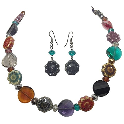 Multi Color Jewel Tones Ceramic Flower & Beveled Glass Beaded Necklace and Earring - Jewel Tone Necklace
