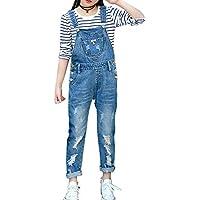 LAVIQK Girls Big Kids Distressed Denim Overalls Blue Jeans Strecthy Ripped Jeans Romper