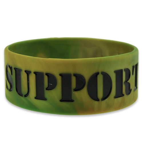 PinMart's Support Our Troops Military Camo Wide Rubber Silicone Bracelet