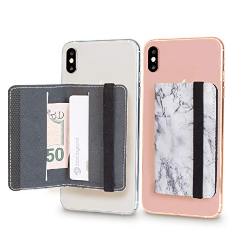 Cell Phone Card Holder Stick on Wallet Phone Pocket for iPhone, Android and All Smartphones with Strap (White Marble) ()