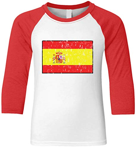 T-shirt Spain Flag - Amdesco Spain Flag Spanish Youth Raglan Shirt, Red/White Large
