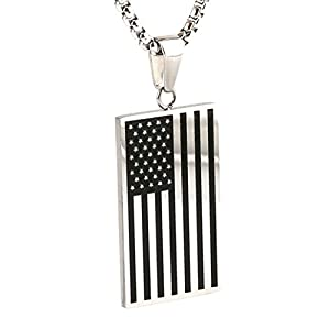 HZman Stainless Steel Men's American Flag Dog Tag Pendant Necklace,Gold and Silver