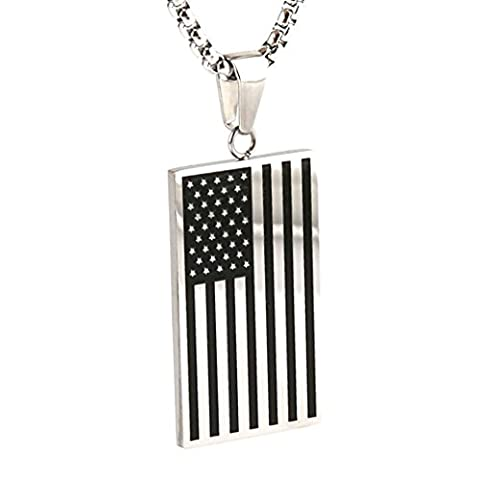 HZMAN Silver Black Stainless Steel Men's American Flag Dog Tag Pendant Necklace - Stainless Dog Tag Fashion Necklace
