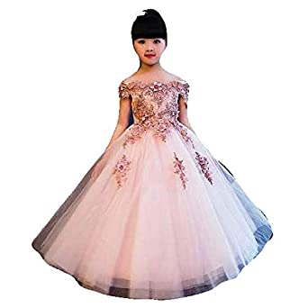 KAIYANAAT Girls Net Party Frock (kg-397 Peach)  Amazon.in  Clothing    Accessories 5b5a53429974