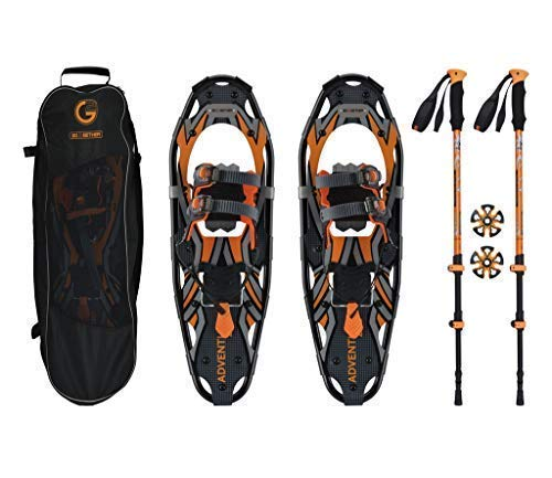 (G2 GO2GETHER Snowshoes kit Adventure Adult (Orange, 25 in, Optimized Weight up to 200lb))