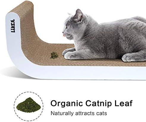 Likea Griffoir inclinable pour chat avec herbe à chat en carton de qualité supérieure, plusieurs angles de griffage pour correspondre aux préférences de votre chat