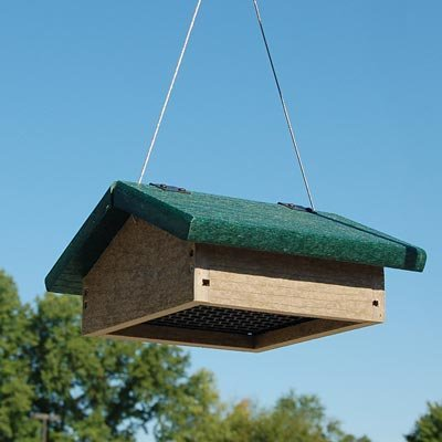 Backyard Boys Woodworking GS30GRWW Upside Down Suet Feeder, Green/Weatherwood
