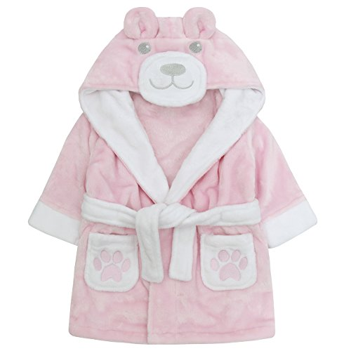 - BABYTOWN Newborn Baby Girls Fleece Dressing Gown - Soft Pink Bear Bath Robe
