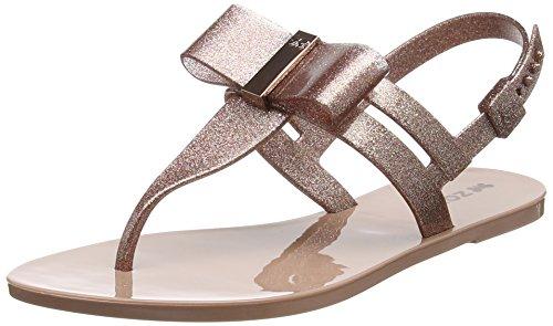 Zaxy Damen Glaze Sandal Bow T-Spangen, Black (Black Glitter), 40 EU