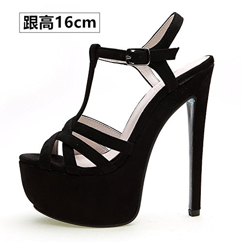 Xing Lin Ladies High Heel Sandals 14Cm High With Shoes Women Summer New Fine With Sandals Waterproof One Night, Fish Mouth Night Life. Black velvet -R01 with high 16cm
