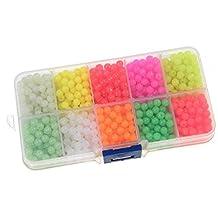 QualyQualy Fishing Beads Assorted,Fishing Tackle Hard Plastic Red Yellow Mix Color Luminous Glow Fishing Beads 4mm Bulk Kit 1000 Pcs