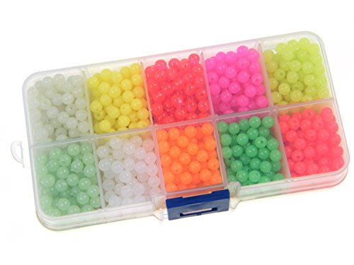 QualyQualy Fishing Beads Assorted,Fishing Tackle Hard Plastic Red Yellow Mix Color Luminous Glow Fishing Beads 4mm Bulk Kit 1000 Pcs