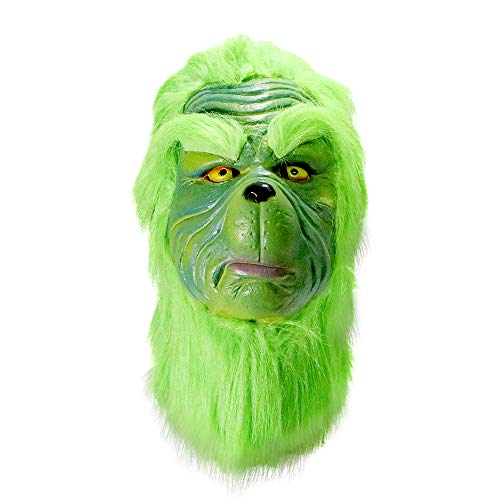 (HAOSUN Grinch Mask Christmas Costume Latex Mask)