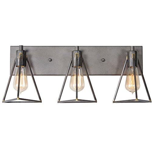 Varaluz 288B03GS Trini 3-Light Bath Fixture – Gunsmoke Finish