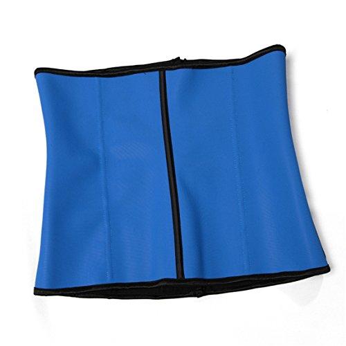 Rosfajiama de mujer Cincher Underbust Corsé de Látex Cintura Corsé de Shapewear Azul