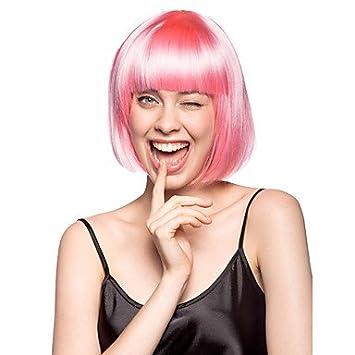 OOFAY JF® sin tapa peluca estilo bob y siete colores del partido sintético , pink