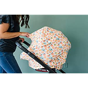"""Baby Car Seat Cover Canopy and Nursing Cover Multi-Use Stretchy 5 in 1 Gift""""Citrus"""" by Copper Pearl"""