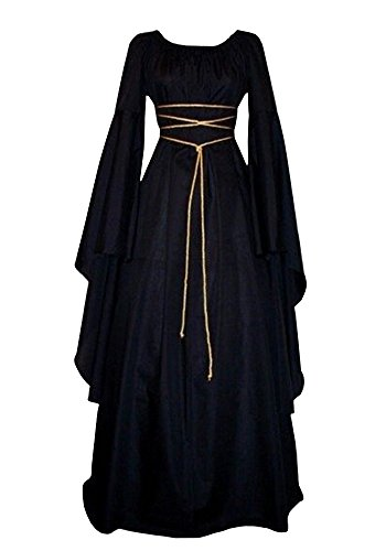 Misassy Womens Renaissance Costumes Medieval Irish Over Dress Victorian Retro Gown -
