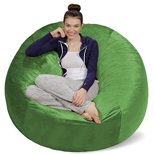 Sofa Sack - Plush Ultra Soft Bean Bags Chairs for Kids, Teens, Adults - Memory Foam Beanless Bag Chair with Microsuede Cover - Foam Filled Furniture for Dorm Room - Lime 5' (Renewed)