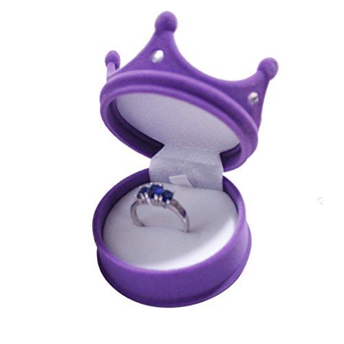 Botrong Ring Necklace Earring Box Velvet Gift Display Jewellery Case (Purple)