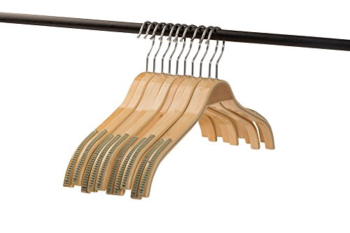 A1 Hangers wooden hangers Natural Set of 10 PACK clothes hangers for coat hanger and suit hangers by Home-it