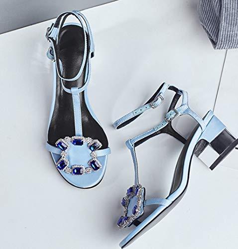 Tacco Raso Confortevole e di Donne Strass Seta 39 Americani Colore Europei Estate Dolce Scarpe Spessa 2 Sandali Dimensioni Moda delle wAIWqEY
