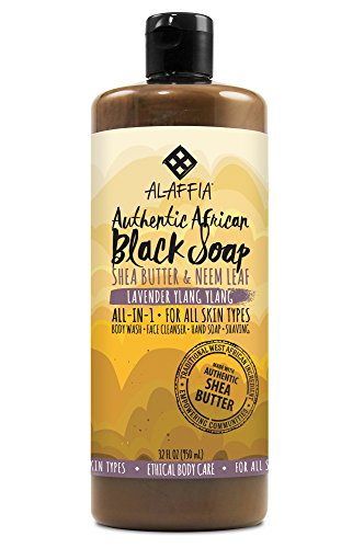 Alaffia - Authentic African Black Soap, All-in-One Body Wash, Shampoo, and Shaving Soap, All Skin and Hair Types, Fair Trade, No Parabens, Non-GMO, No SLS, Lavender Ylang Ylang, 32 ()
