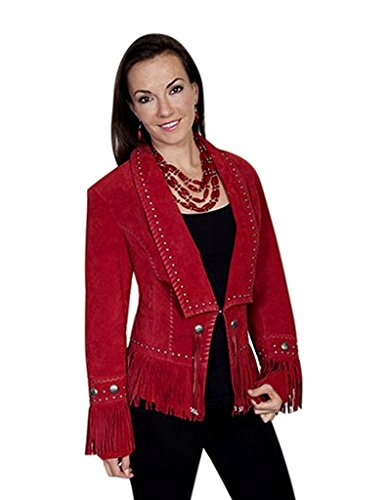 Scully Women's Long Lapel Suede Fringe Jacket Red XX-Large