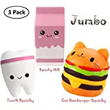 KONGZING Squishy Toys Pack Kawaii Squishies Slow Rising Cat Hamburger Squishy Cute Squishy Milk Box and Squishies Teeth Jumbo Pink Squishy for Girls Adults Stress Relief and Party Decoration Toys