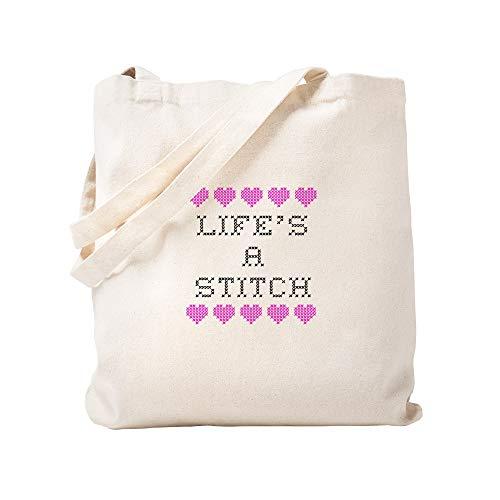 - CafePress Life's A Stitch Cross Stitch Natural Canvas Tote Bag, Cloth Shopping Bag