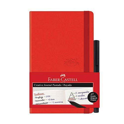 Caderno Pautado + Fine Pen, Faber-Castell, Creative Journal, CDNETA/VM, 84 Folhas, Vermelho